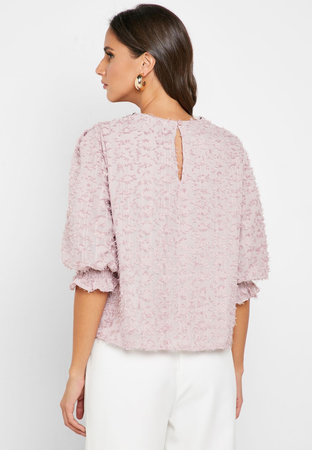 Textured Puffed Sleeve Top