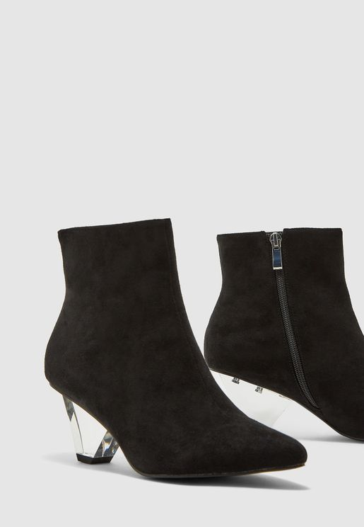 Ankle Boots In Faux Suede With Heel Detail
