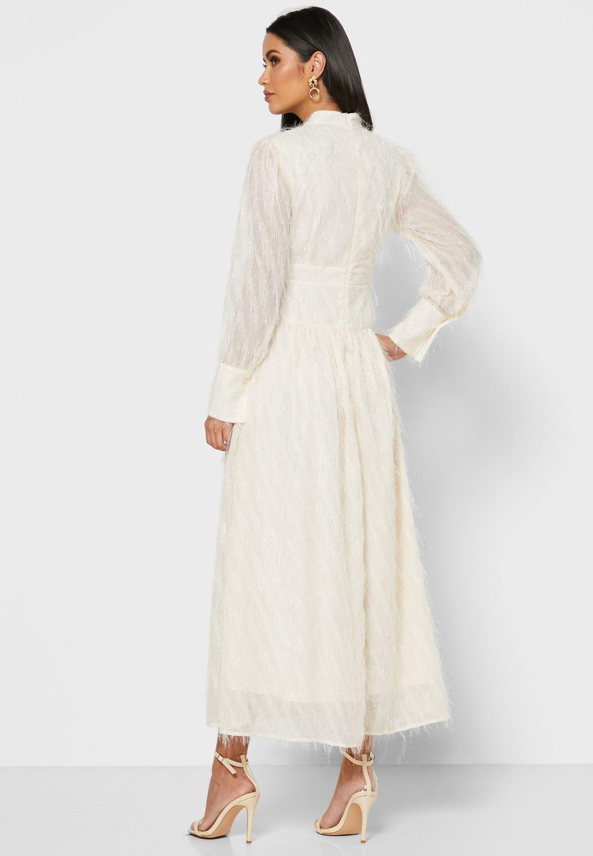 Textured Puffed Sleeve Midi Dress