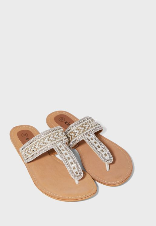 Leather Toe Post Flat Sandals