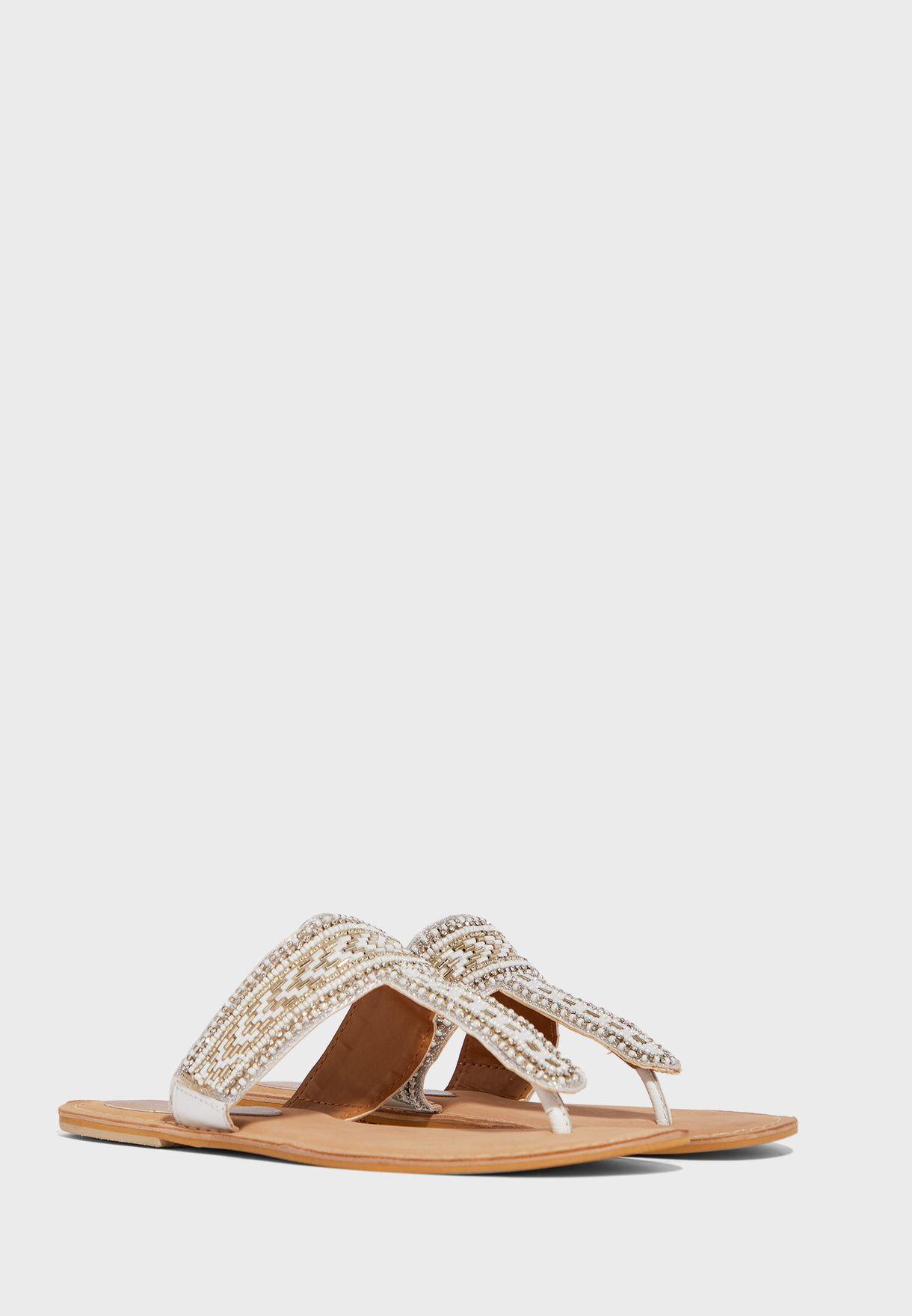 Leather Toe Post Flat Sandals