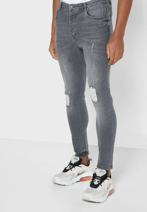Skinny Fit Denim Ripped Jeans