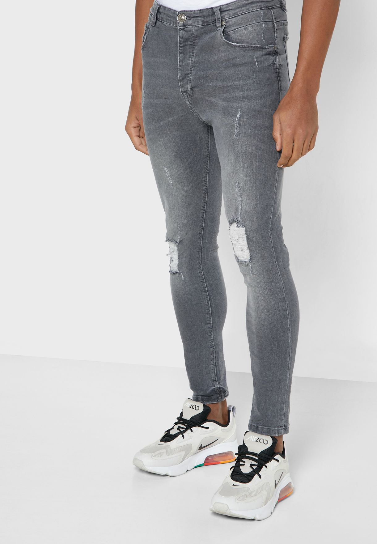 Skinny Fit Denim Ripped Jeans