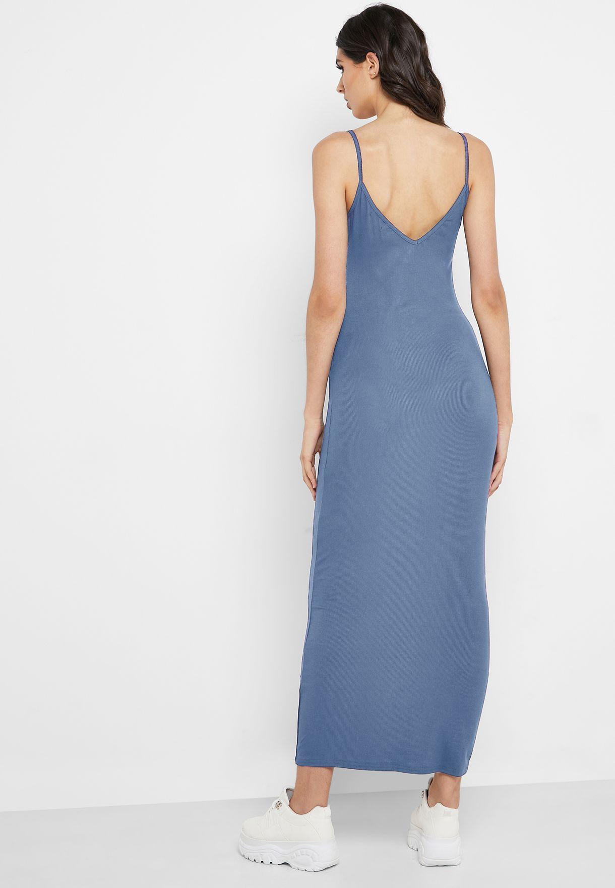 Ribbed Low Back Cami Maxi Dress