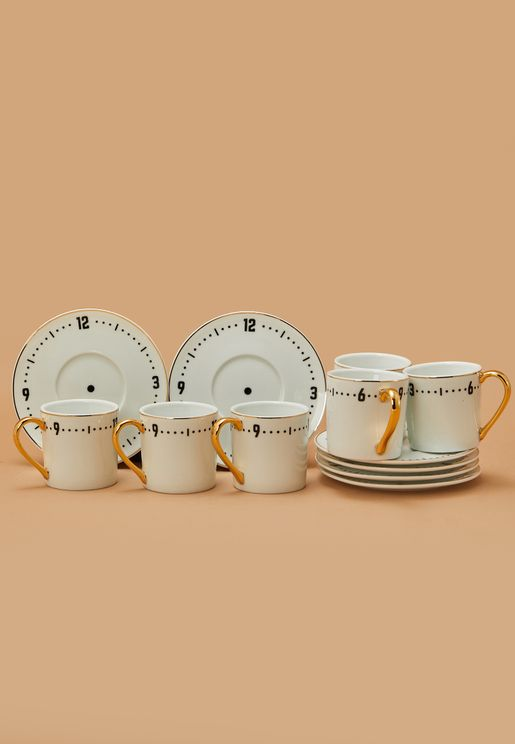 Set Of 6 Clock Espresso Cup With Saucer