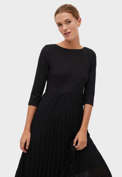 Plisse Midi Dress