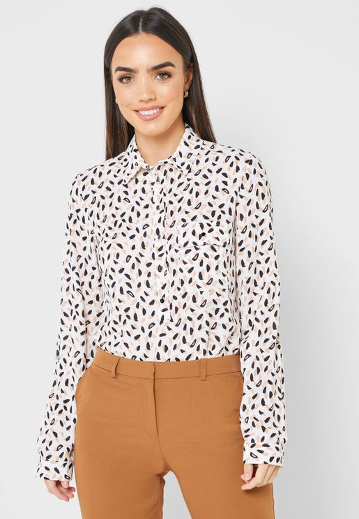 Button Down Roll Sleeve Printed Top