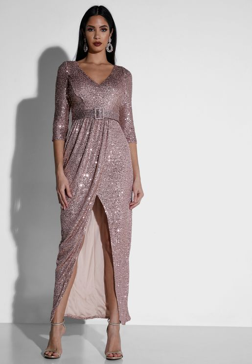 Wrap Front Sequin Maxi Dress