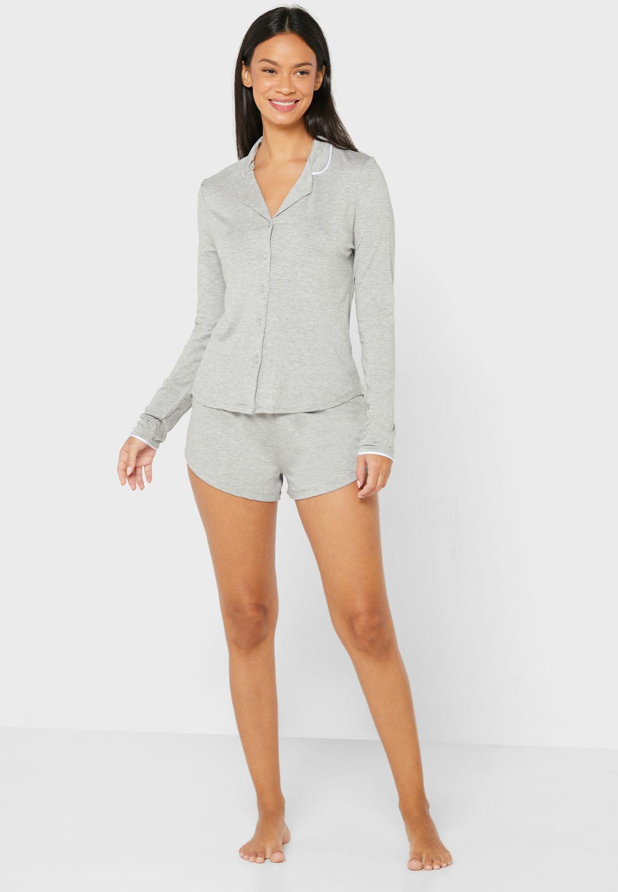 Soft Touch Piping Shirt & Short Pyjama Set