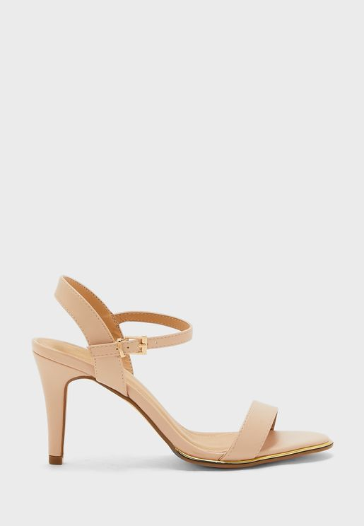 Ankle Strap Sandal With Metallic Trim