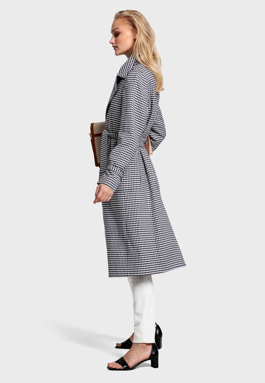 Belted Gingham Trench Coat