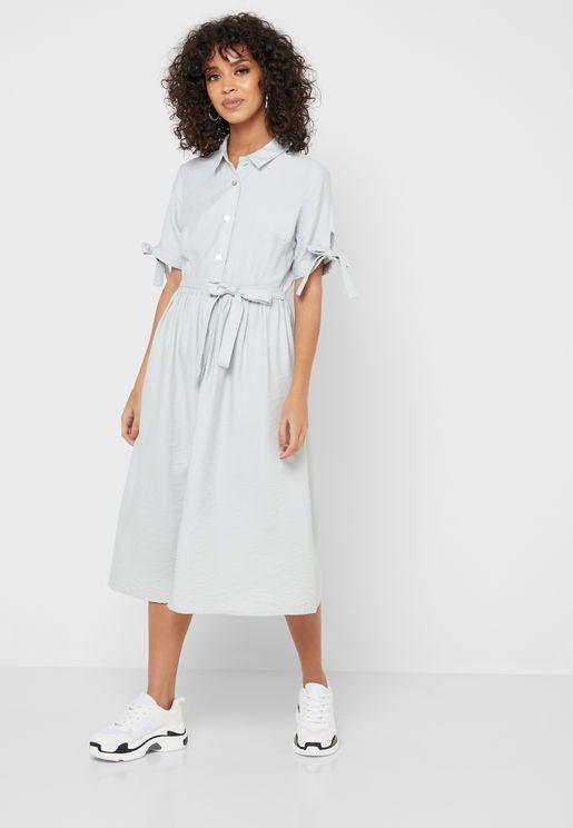 Tie Sleeve Shirt  Midi Dress