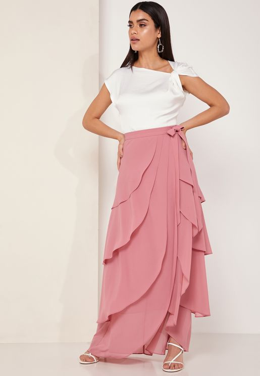 Me Fliss Tie Waist Layered Skirt