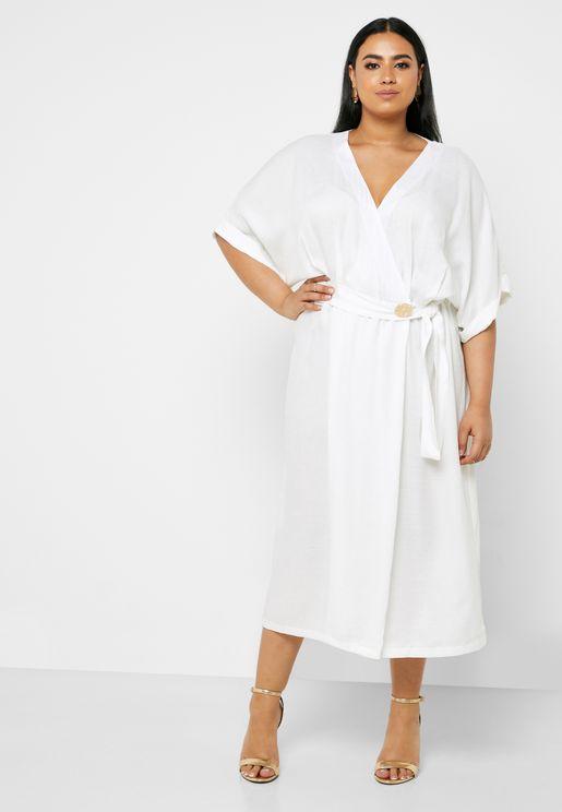 Linen Wrap Front Midi Dress