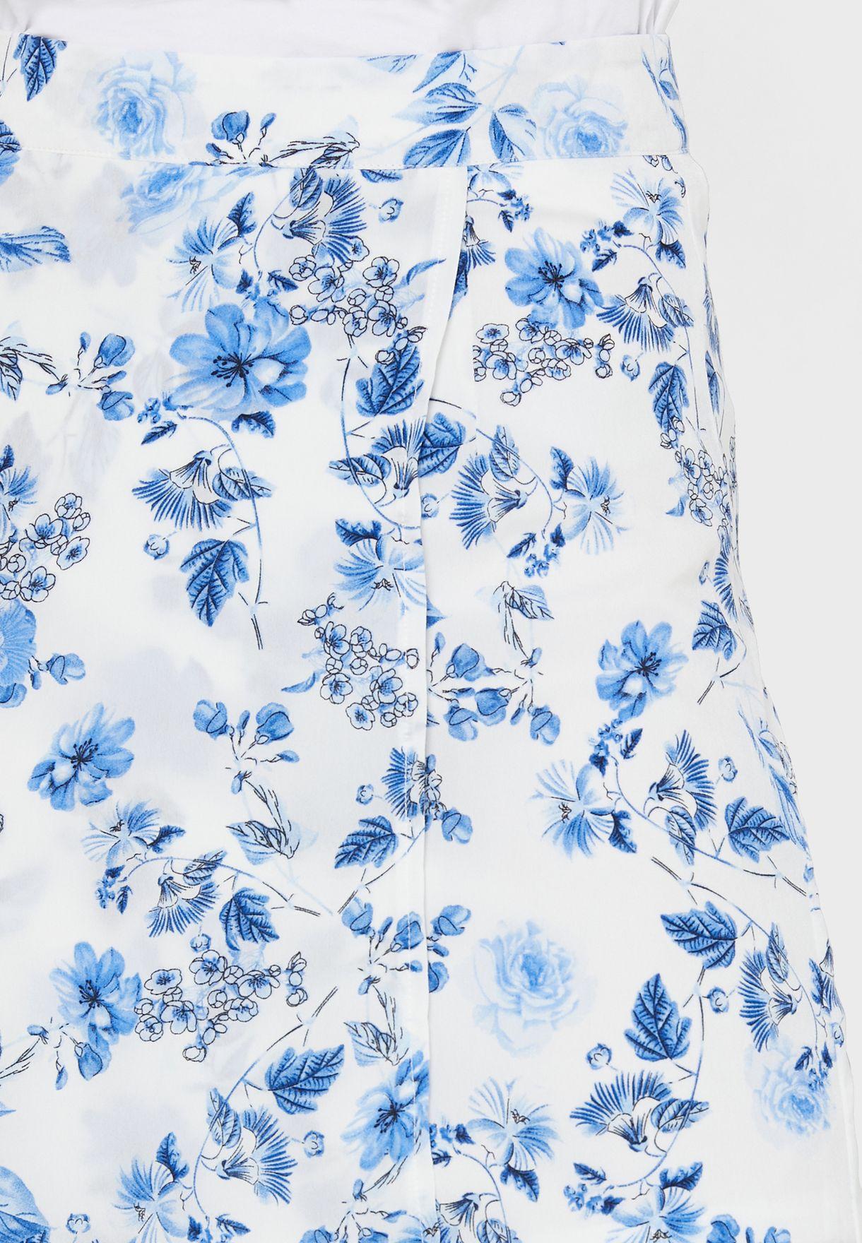 تنورة بطباعة زهور