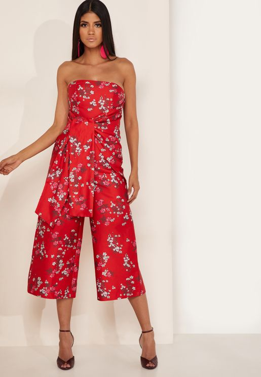 Heart And Soul Printed Bandeau Culotte Jumpsuit