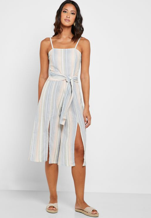 Striped Double Slit Culotte Jumpsuit