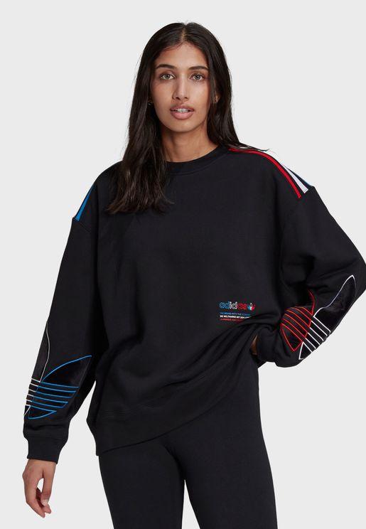 Adicolor Tricolor Trefoil Velvet Sweatshirt