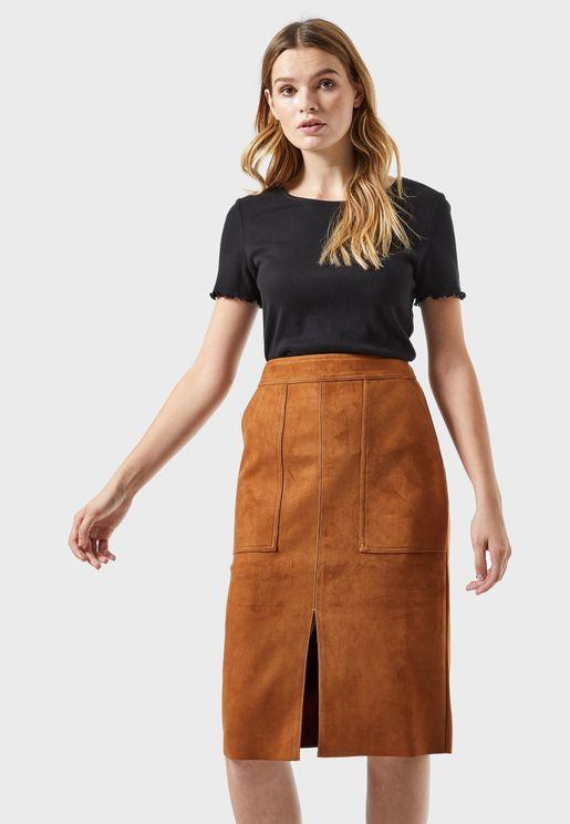 Patch Pocket Midi Skirt