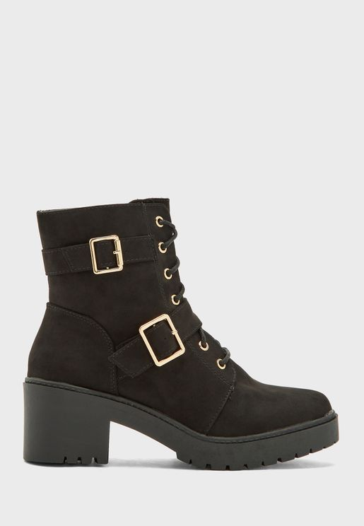 Lace Up High Heel Ankle Boot