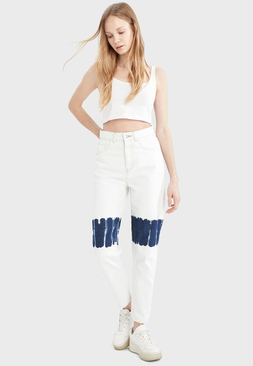 Contrast Detail High Waist Jeans