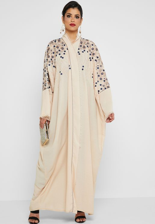 ce2221ff56 Floral Embroidered Abaya