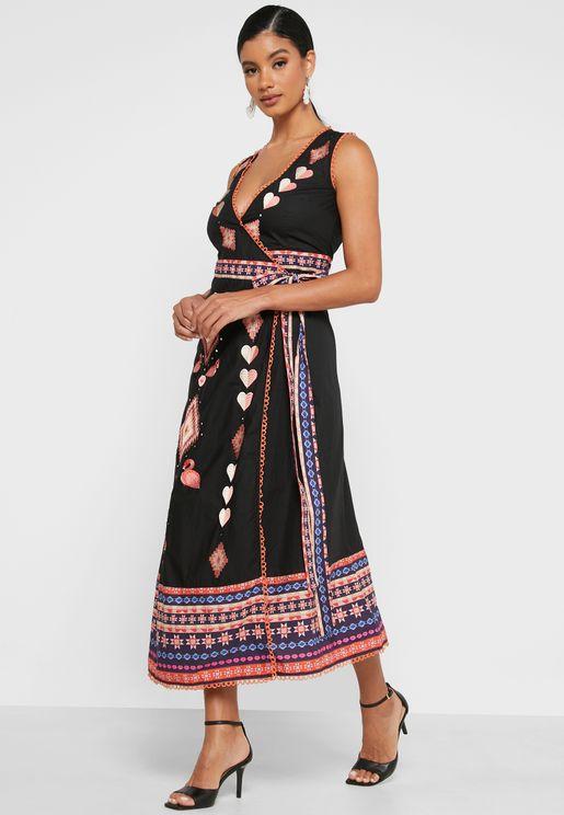 V-Neck Wrap Midaxi Dress