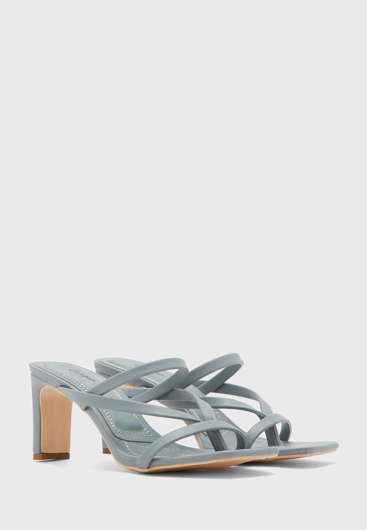 Square Toe Strap Detail Mule