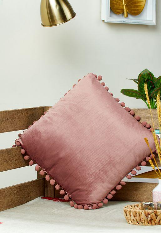 Pink Pom Pom Cushion With Insert 45x45cm