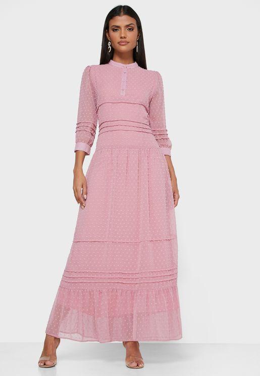 Tiered Dobby Dress