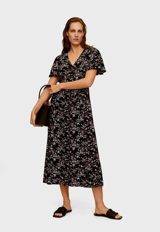 Angel Sleeve Printed Shirt Dress