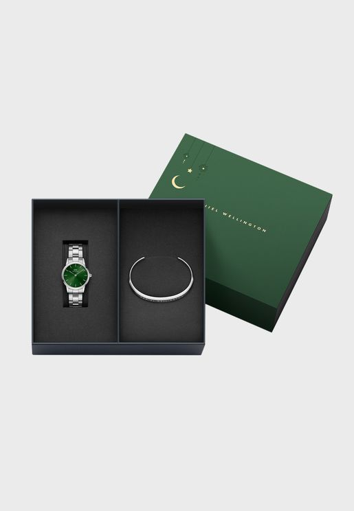 Iconic Link 28 S Green DW00100339 + Small Silver Bracelet DW00400004