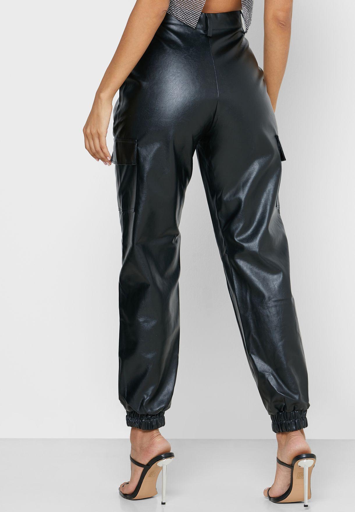 Pocket  Detail Pu Pants