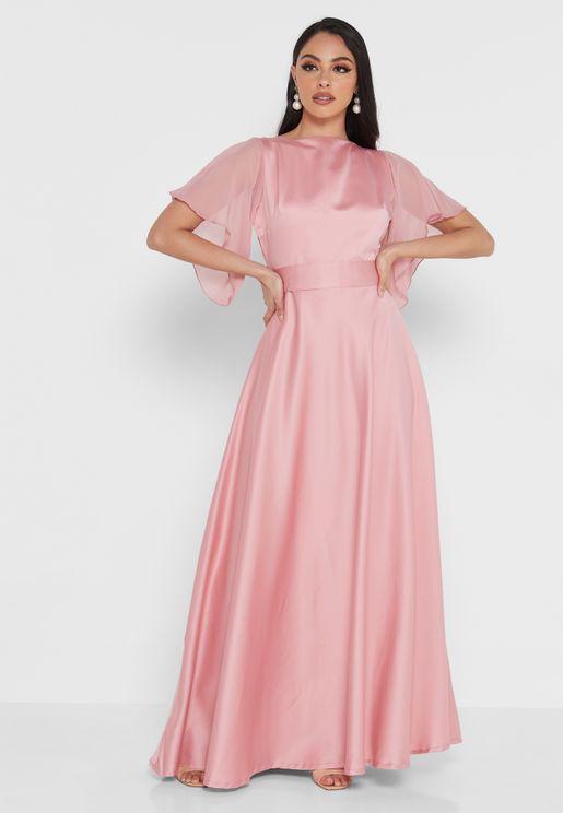 Flouncy Sleeve A-Line Dress