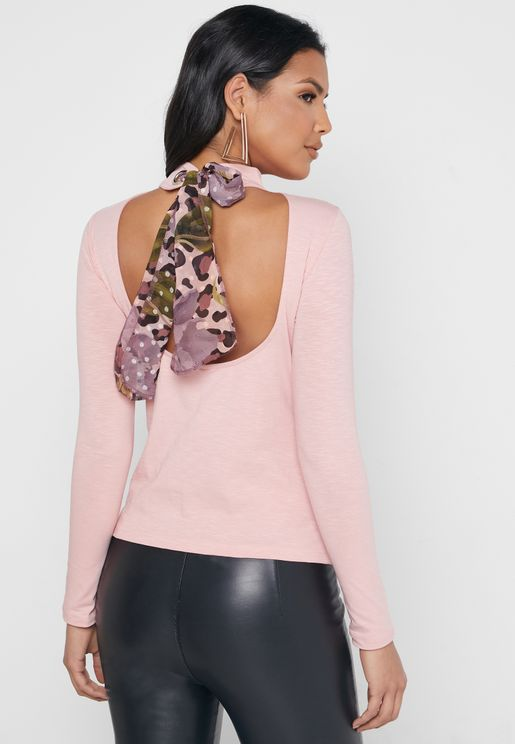High Neck Tie Back Top