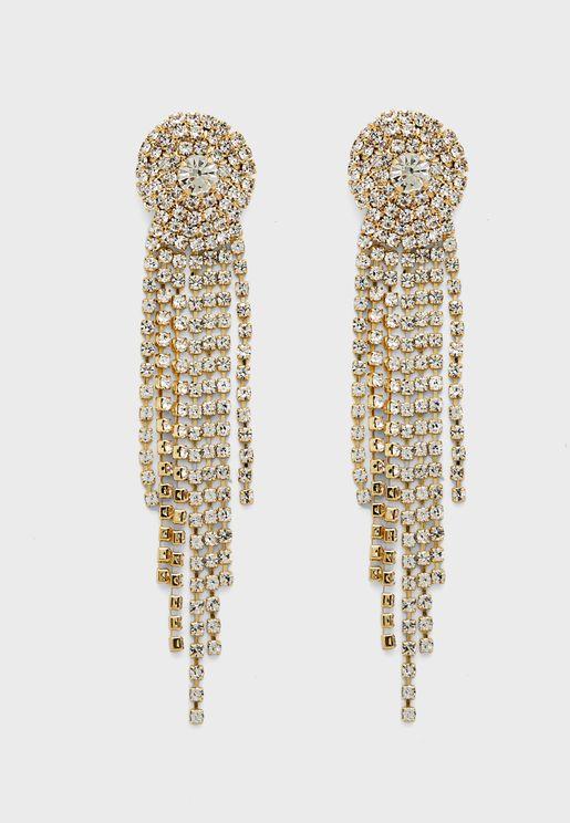 Circle Diamante Multi Drop Earrings