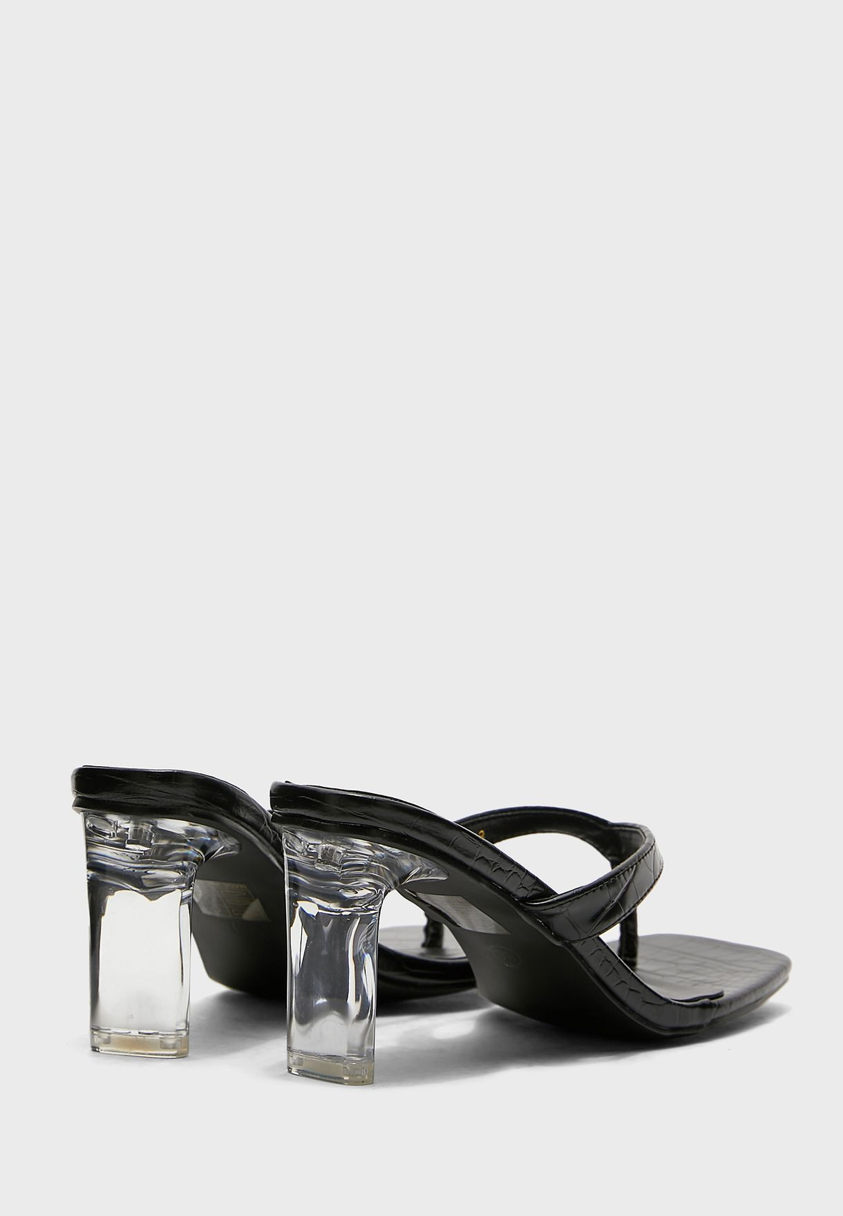 Square Toe Post Clear Heel Mule