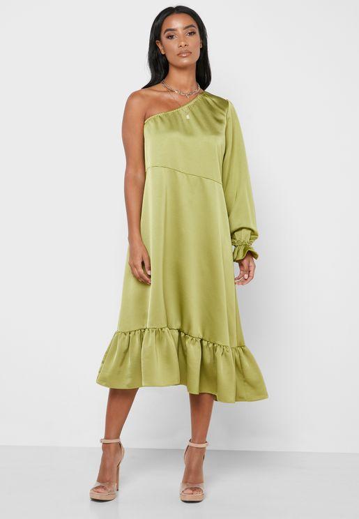Ruffle Hem One Shoulder Dress