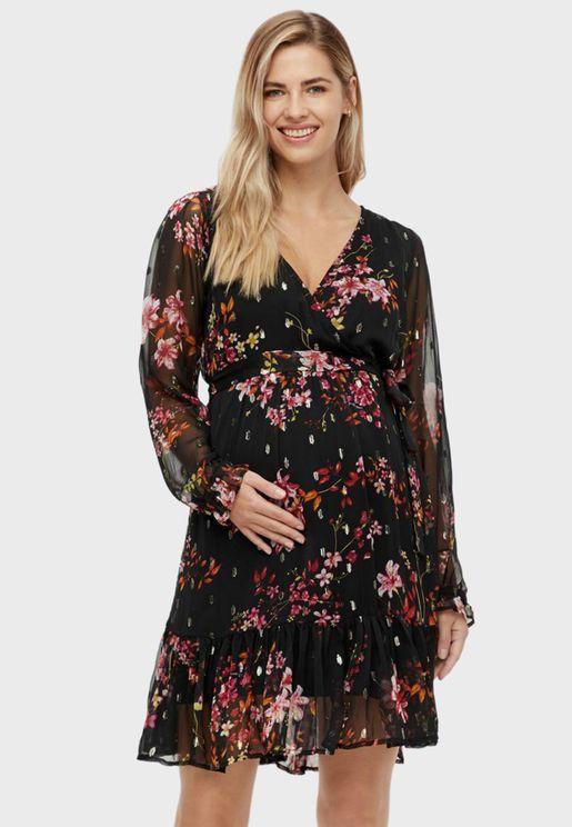 Floral Print Mesh Sleeve Dress