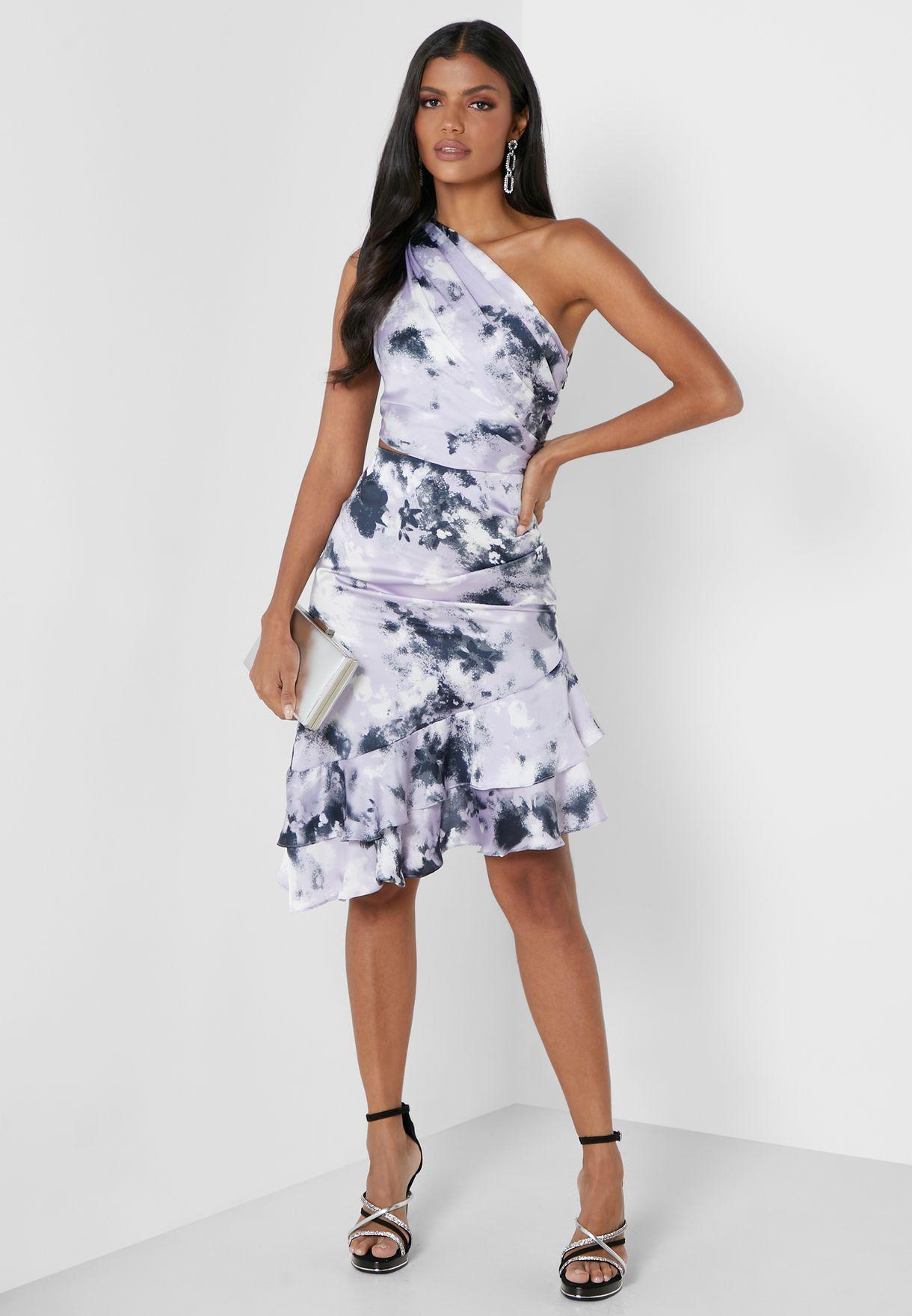 One Shoulder Cut Out Tie Dye Frill Dress