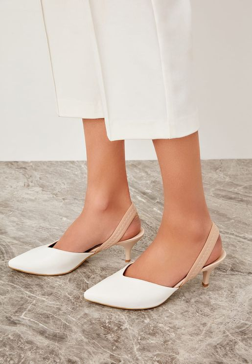 Kitten Heel Pump - White