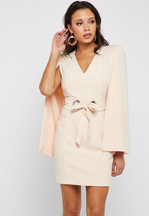 afee8749217 Eyelet Belted Long Sleeve Mini Dress