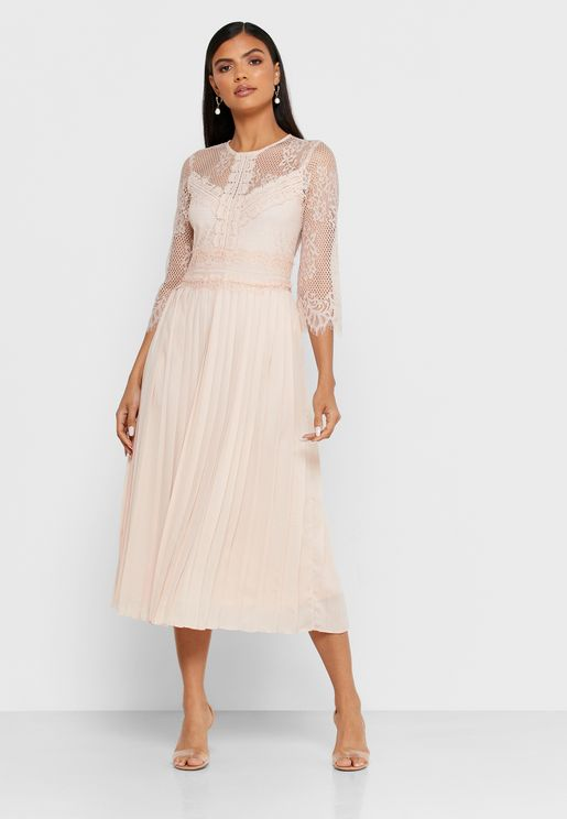 Pleated Lace Detail Midi Dress