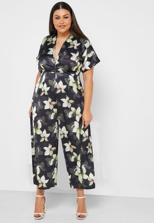 Floral Print Plunge Jumpsuit