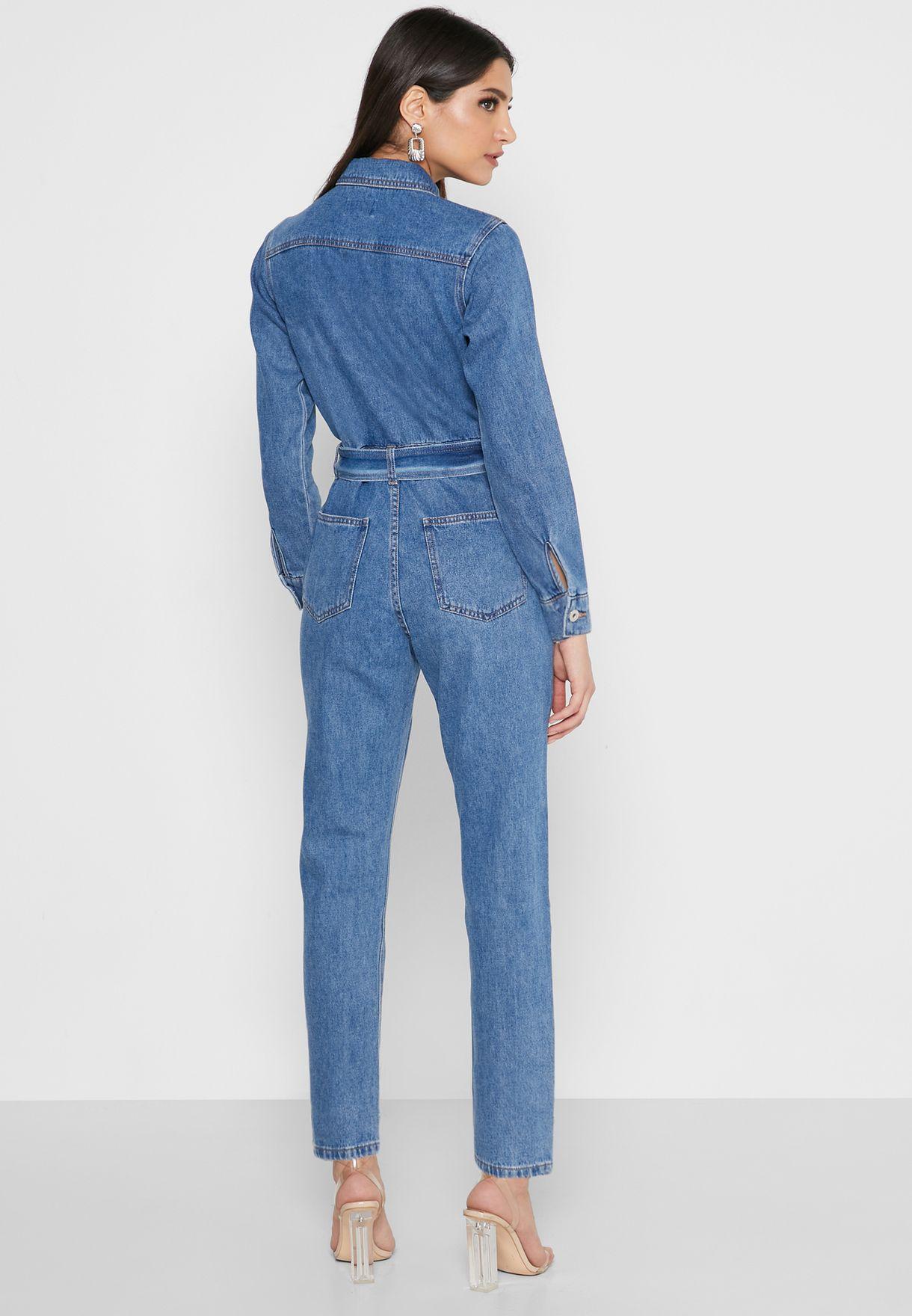افرول طويل جينز (جمبسوت) بحزام خصر
