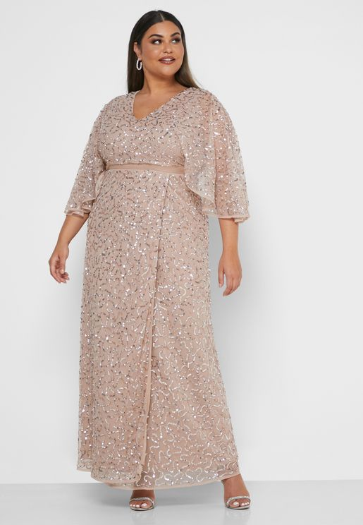 Kimono Sleeve Sequin Dress