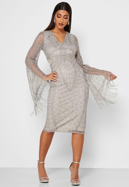 فستان باكمام جرس