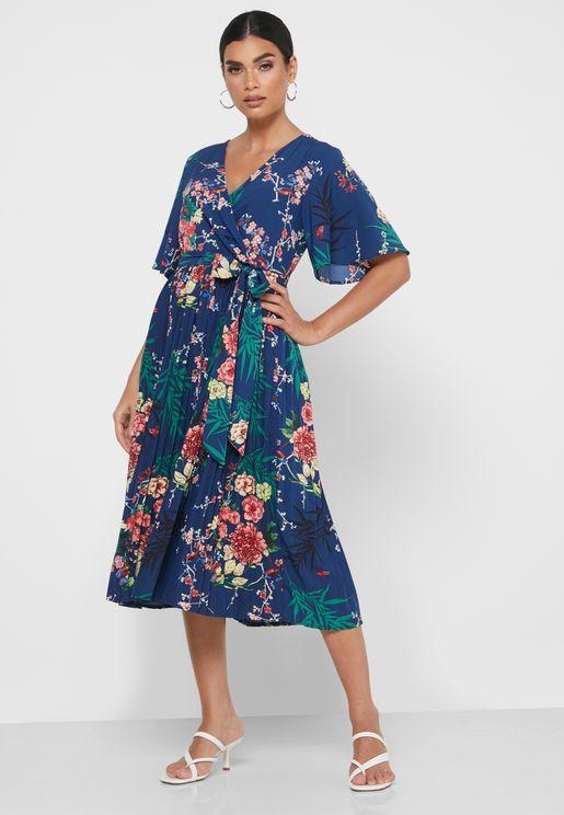 Floral Print Plisse Wrap Dress