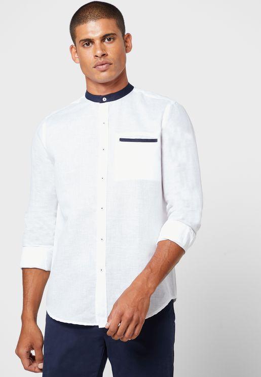 قميص بياقة صينية مغايرة
