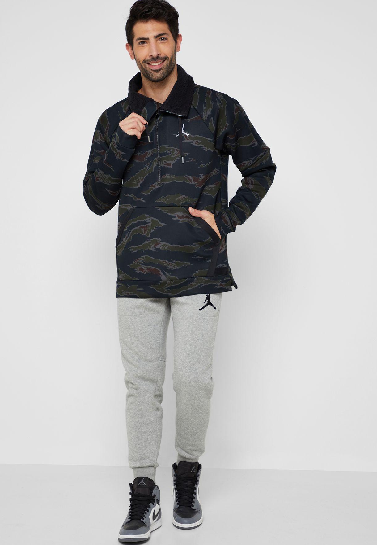 c14ff8ddbd0 Shop Nike black Jordan Flight Tech Camo Anorak Jacket AH6163-010 for ...